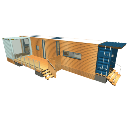 Park Model Container with Deck and Add-On Room